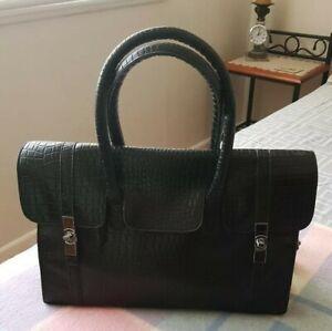 Black Handbag Simulated  Croc pattern, with Detectable Strap VGC