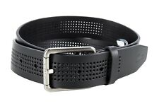 Lacoste Men's Perforated Black Leather Belt With Roller Buckle RC3013 H02