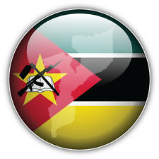 Mozambique Glossy Flag Label Car Bumper Sticker Decal 5'' x 5''