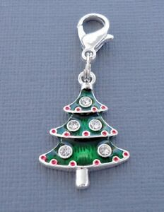 Christmas tree crystal silver plated Clip On Charm Dangle Fits Link Chain C46