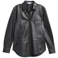 EQUIPMENT Brett Leather Shirt in Black Size XS