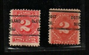 US #J62, two stamps, each with EFO precancel: Cleveland, Ohio, and Detroit, Mich