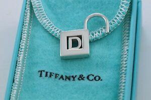 Tiffany & Co Sterling Silver Letter D Lock Charm Pendant For Necklace & Bracelet
