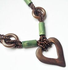 Lagenlook / Boho long chunky wooden heart beaded green necklace - free post