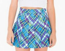 American Apparel Blue Plaid Tennis Skirt Pleated Women's Size S and M  NEW