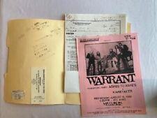 Warrant Concert Contract 1995 Pittsburgh