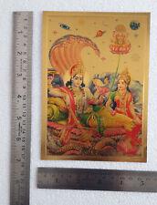 5x7 Inch Poster Lord Vishnu Devi Lakshmi, Exclusive Metallic Paper Sticker