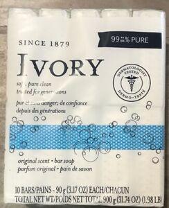 Ivory 99% Pure Soap,Safe Clean  1 Pack 10 Bars Pains 3.17 oz Each Men & Women