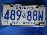 ONTARIO LICENSE PLATE 1973 1975 TAG 489 88 W VINTAGE CANADA CROWN CAR SHOP SIGN