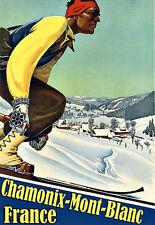 Art ad ski Chamonix Mont Blanc Francia viaje Deco cartel impresión