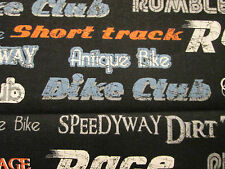 MOTORCYCLE CLUB WORDS BIKER MOTORCYCLES WORD VINTAGE BLACK COTTON FABRIC FQ