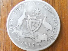 1918 Australian Silver TWO Shilling Florin (TWO BOB) KING GEORGE V  (very Nice)