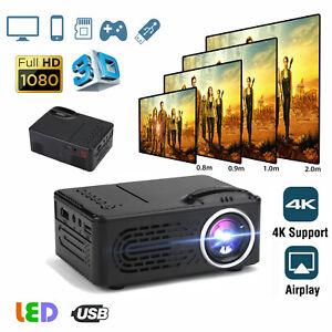 Mini LED Projector Portable HD 720P 4K Video Movie Home Theater Cinema HDMI USB