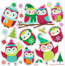OWLS dressed for winter wall stickers 20 cute decal Christmas holiday room decor