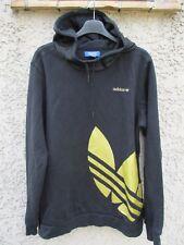 Sweat à capuche ADIDAS rétro vintage TREFOIL noir or streetwear M