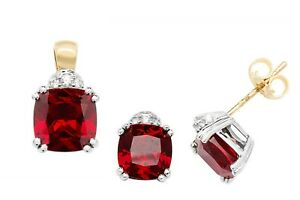Ruby Pendant and Earrings Set Faceted Cushion Solid Yellow Gold Hallmarked