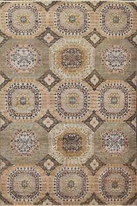 Vegetable Dye Khotan Geometric Oriental Area Rug Hand-knotted Wool 4'x6' Carpet