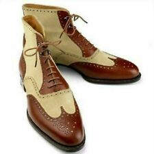 Handmade Men Wing Tip Ankle High Boots Two Tone Leather & Suede Brogue Boots