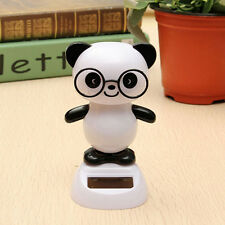 Solar Power Glasses Panda Flip Flap Swing Shook His Head Doll Car Ornament Decor