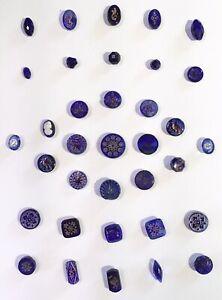 GORGEOUS CARD OF 35 ANTIQUE DIV 1 COBALT BLUE GLASS BUTTONS