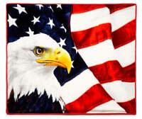 Patriotic Bald Eagle American Flag Super Soft Plush Throw Blanket 50 x 60 Inch