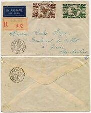 NEW CALEDONIA REGISTERED KAGU BIRD FRANCE LIBRE 20F + 10F 1947 BOURAIL