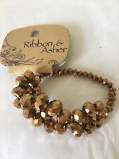 BNWT Ribbon & Asher sparkly textured gold tone stretchy beaded bracelet