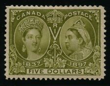 Canada 1897 QV Jubilee $5.00 Olive Green #65 XF mlhr - VGG CERT
