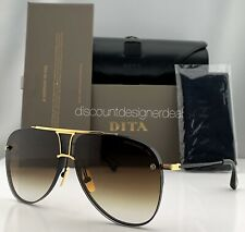 DITA DECADE TWO Aviator Sunglasses DRX-2082 Black 18k Gold Brown Gradient 62mm