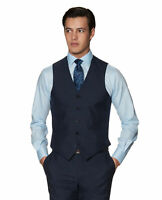 T.M.Lewin Medici Slim Fit Waistcoat in Denim Barberis Mill Merino Wool