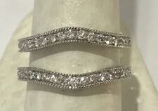 14k  White Gold Real Diamonds Ring Guard Wrap Solitaire Enhancer Wedding