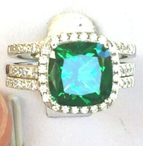 Emerald ring set: 5ct halo cushion simulated emerald ring, anniversary, ring 925