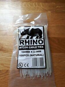 100 x White/Natural Nylon Plastic Cable Ties Zip Tie Wraps 100mm x 2.5mm