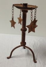 Tall Rustic Country Steel Metal Shabby Chic 4 Star Pillar Candle Holder 12""