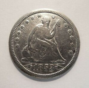 1853-O - Seated Liberty Quarter - 25¢ - Silver Coin - Arrows & Rays - Cleaned