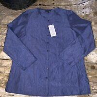 Eileen Fisher Mini Man Long Shirt Blue  100%Silk Size Petite Medium