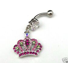 Crown Tiara Belly Ring Navel Bar Pink Clear CZ Rhinestone Surgical Steel 14g