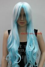 Ladies Light Blue White Mixed Long Curly Anime Cosplay Party Hair Full Wigs