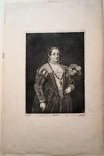 Eau forte de Troyen d'ap Titien, Portrait de femme