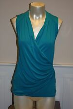 Ann Taylor Teal Blue Fixed Wrap Sleeveless Knit Top Flattering NWT $48