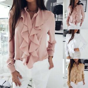 Womens Ruffled Frill Long Sleeve Blouse Ladies Work OL Office Shirt Casual Tops