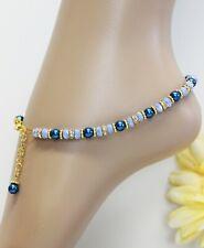 Glass Jewels Silber Fußkettchen Perlen Grün Boho Ethno Länge 26,5 cm #J068