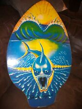 Skim Lizard Michael Searle Surf Board Skimboard Wood Shark Sun blue