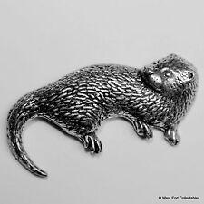 Otter Pewter Brooch Pin - British Artisan Signed Badge - Midgebill, Tarka, Sea