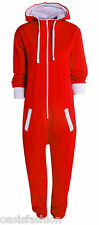 Kids Boys Girls Plain Hooded Onesie1 All in One Jumpsuit Playsuit Sizes 5-16 Yrs 13-14 Years Red