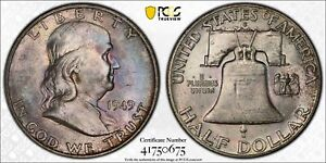 1949 D Franklin Half Dollar PCGS MS 64 FBL and Toned