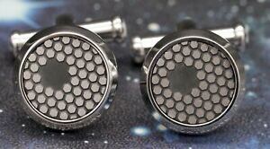 BRAND NEW MONTBLANC STAINLESS STEEL STAR CUFFLINKS WITH HONEYCOMB PATTERN