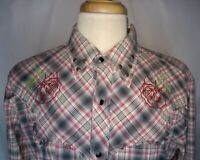 Rare Vintage Distressed Men's Cotton Rose Embroidered XL Red Checked Pearl Snap