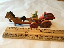 """Vtg All Wood Horse And Carriage Toy 4"""" Japan People Are Plastic"""