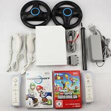 Nintendo Wii Konsole mit Zubehörpaket Spiele Mario Bros + Mario Kart 2x Remote
